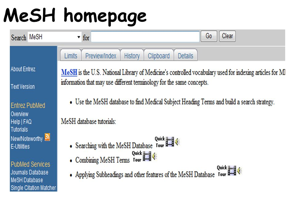 MeSH homepage