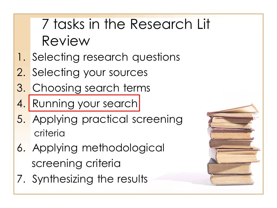 Final thoughts Literature is an iterative process: find an article, investigate associated links and other works by the author, search specific journals.