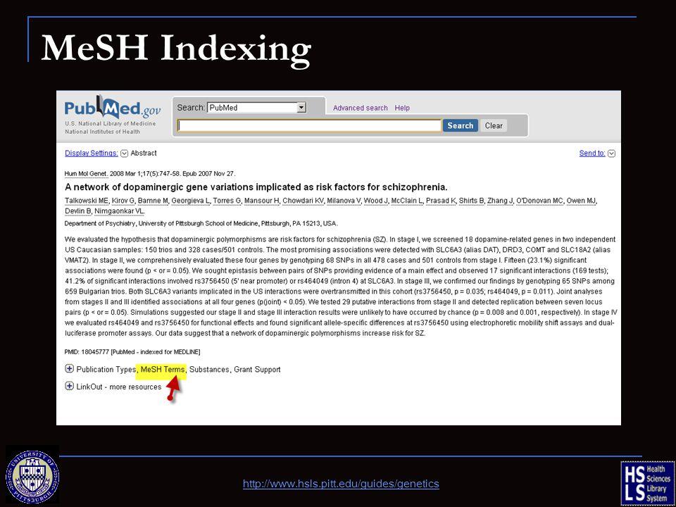 MeSH Indexing http://www.hsls.pitt.edu/guides/genetics