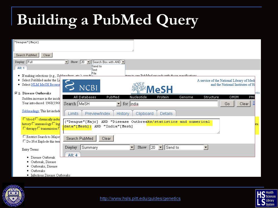Building a PubMed Query http://www.hsls.pitt.edu/guides/genetics