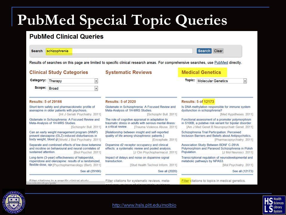 PubMed Special Topic Queries http://www.hsls.pitt.edu/molbio