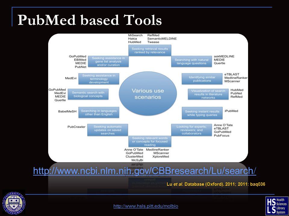 PubMed based Tools http://www.hsls.pitt.edu/molbio Lu et al. Database (Oxford). 2011; 2011: baq036 http://www.ncbi.nlm.nih.gov/CBBresearch/Lu/search /