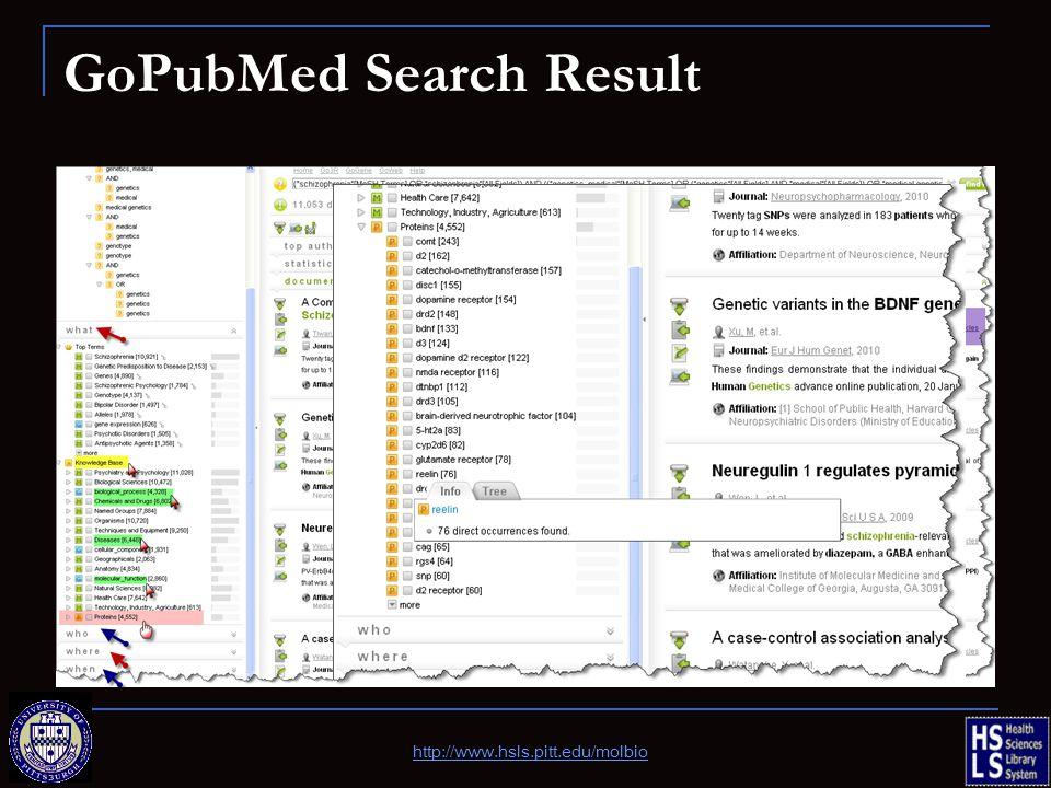 GoPubMed Search Result http://www.hsls.pitt.edu/molbio