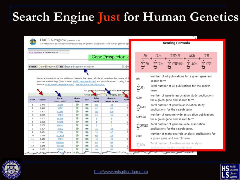 Search Engine Just for Human Genetics http://www.hsls.pitt.edu/molbio