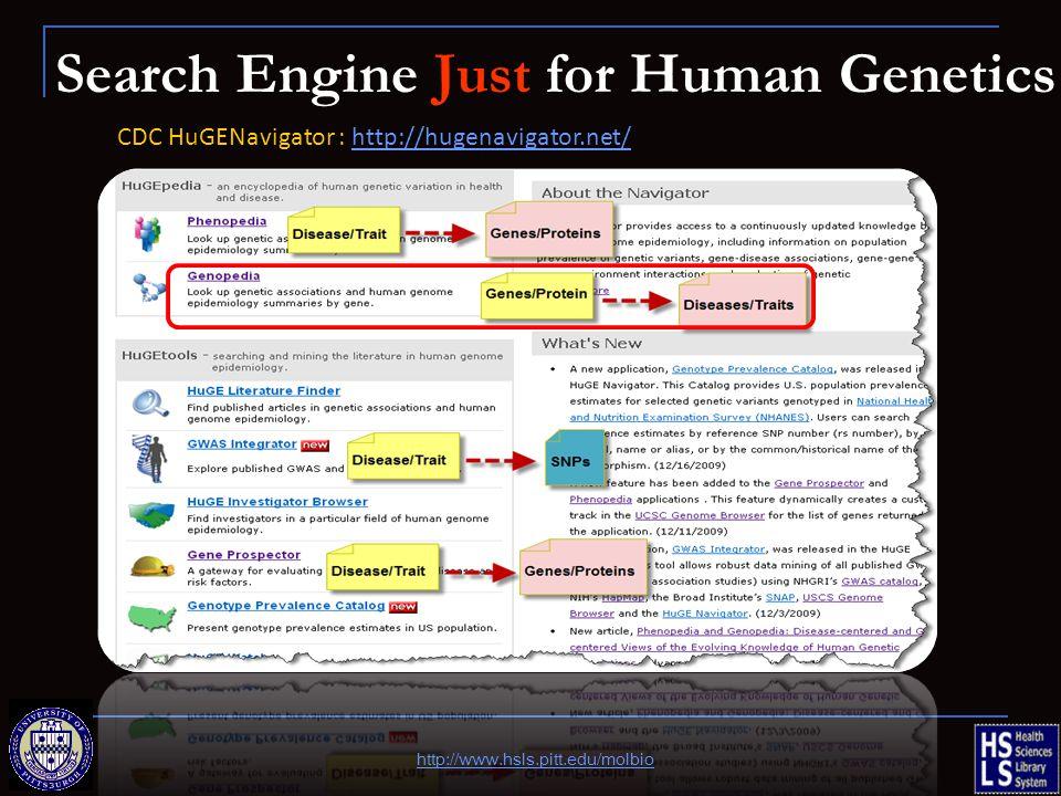 Search Engine Just for Human Genetics CDC HuGENavigator : http://hugenavigator.net/http://hugenavigator.net/ http://www.hsls.pitt.edu/molbio