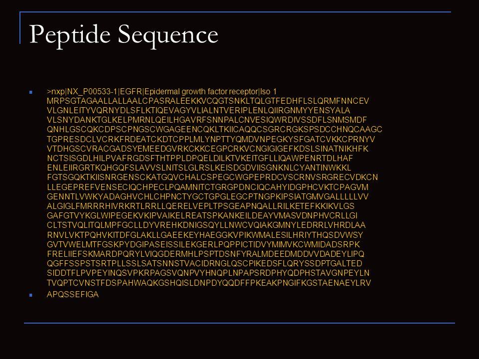 Peptide Sequence >nxp NX_P00533-1 EGFR Epidermal growth factor receptor Iso 1 MRPSGTAGAALLALLAALCPASRALEEKKVCQGTSNKLTQLGTFEDHFLSLQRMFNNCEV VLGNLEITYVQRNYDLSFLKTIQEVAGYVLIALNTVERIPLENLQIIRGNMYYENSYALA VLSNYDANKTGLKELPMRNLQEILHGAVRFSNNPALCNVESIQWRDIVSSDFLSNMSMDF QNHLGSCQKCDPSCPNGSCWGAGEENCQKLTKIICAQQCSGRCRGKSPSDCCHNQCAAGC TGPRESDCLVCRKFRDEATCKDTCPPLMLYNPTTYQMDVNPEGKYSFGATCVKKCPRNYV VTDHGSCVRACGADSYEMEEDGVRKCKKCEGPCRKVCNGIGIGEFKDSLSINATNIKHFK NCTSISGDLHILPVAFRGDSFTHTPPLDPQELDILKTVKEITGFLLIQAWPENRTDLHAF ENLEIIRGRTKQHGQFSLAVVSLNITSLGLRSLKEISDGDVIISGNKNLCYANTINWKKL FGTSGQKTKIISNRGENSCKATGQVCHALCSPEGCWGPEPRDCVSCRNVSRGRECVDKCN LLEGEPREFVENSECIQCHPECLPQAMNITCTGRGPDNCIQCAHYIDGPHCVKTCPAGVM GENNTLVWKYADAGHVCHLCHPNCTYGCTGPGLEGCPTNGPKIPSIATGMVGALLLLLVV ALGIGLFMRRRHIVRKRTLRRLLQERELVEPLTPSGEAPNQALLRILKETEFKKIKVLGS GAFGTVYKGLWIPEGEKVKIPVAIKELREATSPKANKEILDEAYVMASVDNPHVCRLLGI CLTSTVQLITQLMPFGCLLDYVREHKDNIGSQYLLNWCVQIAKGMNYLEDRRLVHRDLAA RNVLVKTPQHVKITDFGLAKLLGAEEKEYHAEGGKVPIKWMALESILHRIYTHQSDVWSY GVTVWELMTFGSKPYDGIPASEISSILEKGERLPQPPICTIDVYMIMVKCWMIDADSRPK FRELIIEFSKMARDPQRYLVIQGDERMHLPSPTDSNFYRALMDEEDMDDVVDADEYLIPQ QGFFSSPSTSRTPLLSSLSATSNNSTVACIDRNGLQSCPIKEDSFLQRYSSDPTGALTED SIDDTFLPVPEYINQSVPKRPAGSVQNPVYHNQPLNPAPSRDPHYQDPHSTAVGNPEYLN TVQPTCVNSTFDSPAHWAQKGSHQISLDNPDYQQDFFPKEAKPNGIFKGSTAENAEYLRV APQSSEFIGA