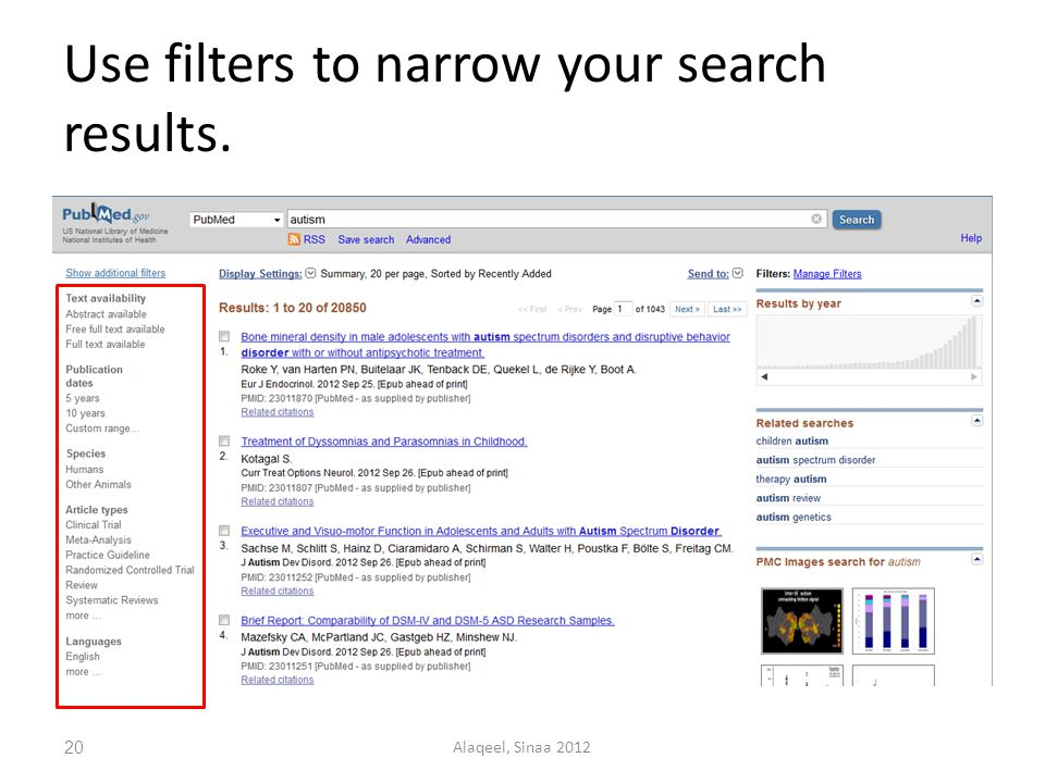 Use filters to narrow your search results. 20Alaqeel, Sinaa 2012