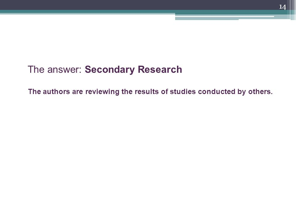 14 The answer: Secondary Research The authors are reviewing the results of studies conducted by others.