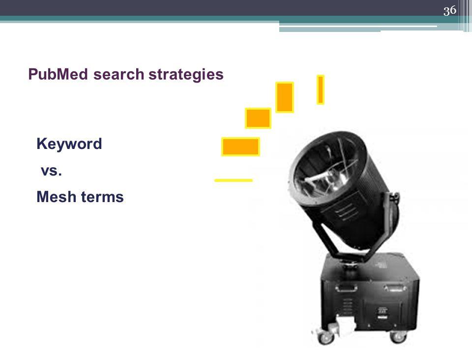 36 PubMed search strategies Keyword vs. Mesh terms