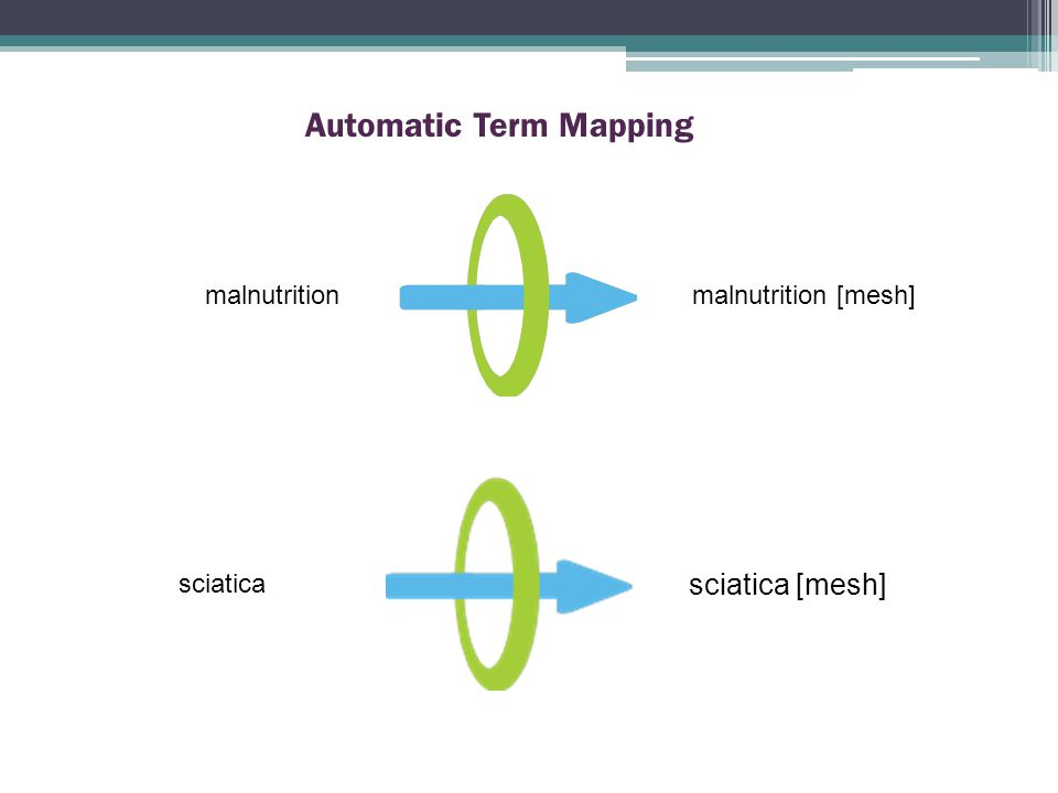 malnutrition Automatic Term Mapping malnutrition [mesh] sciatica sciatica [mesh]