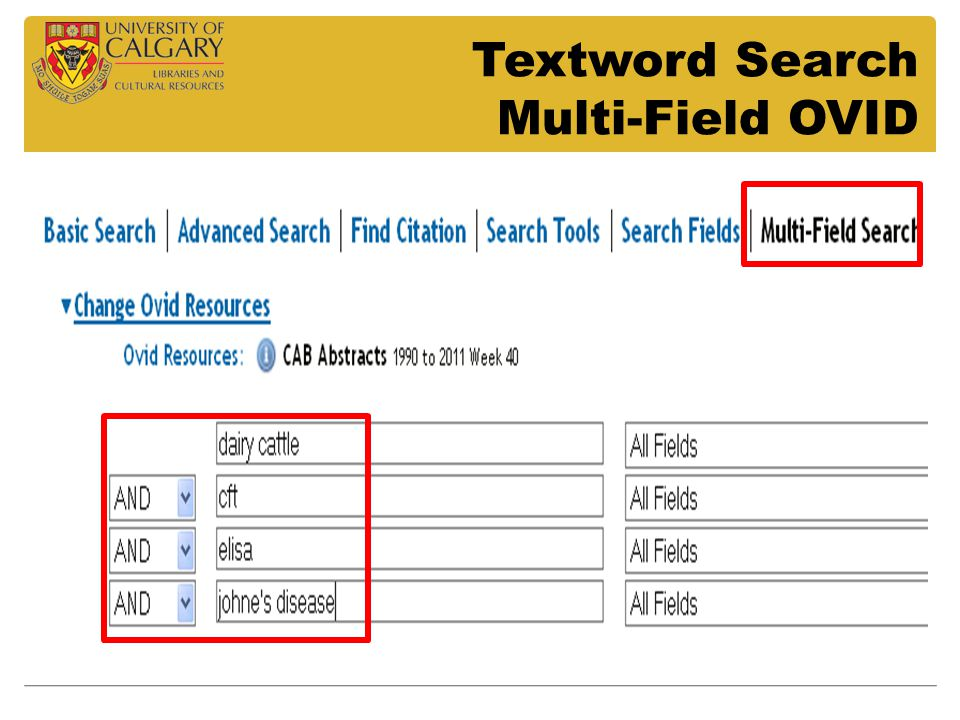 Textword Search Multi-Field OVID