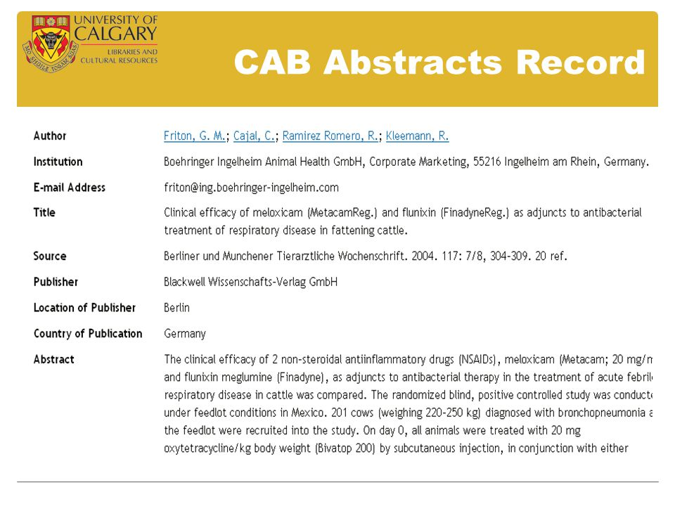 CAB Abstracts Record