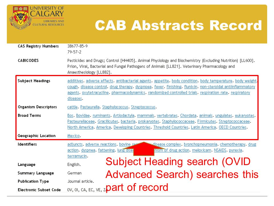 Subject Heading search (OVID Advanced Search) searches this part of record