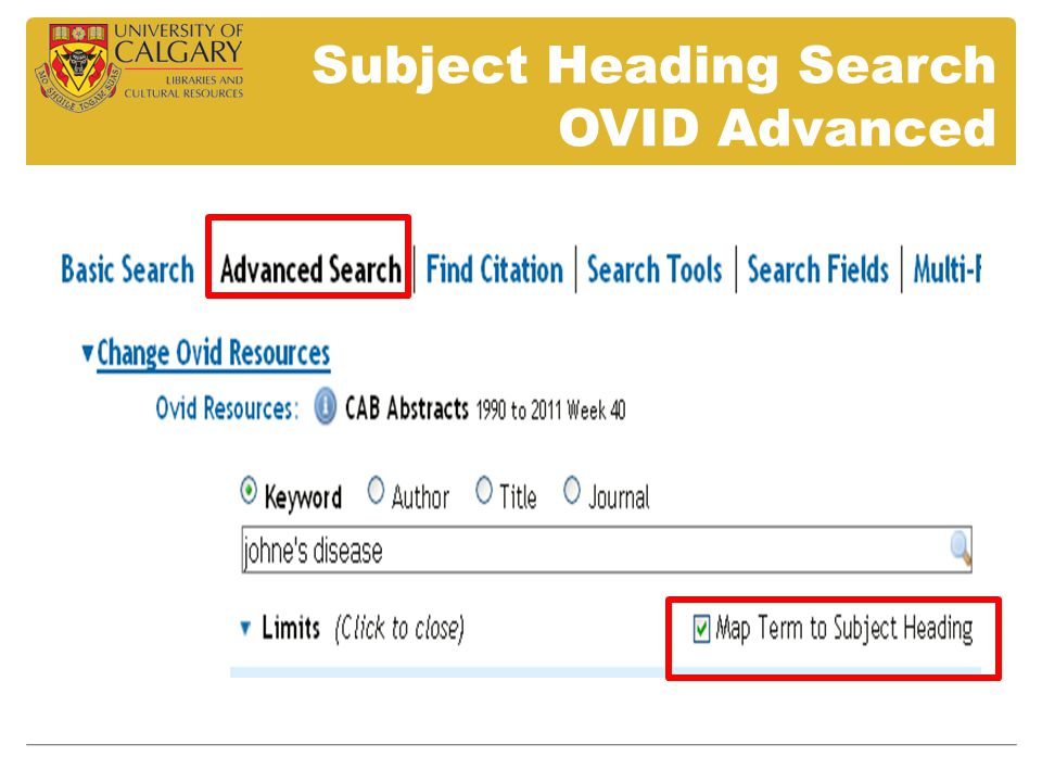 Subject Heading Search OVID Advanced