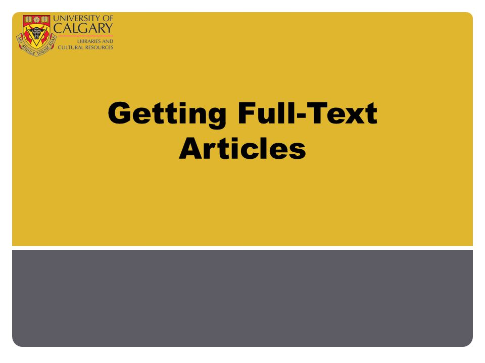 Getting Full-Text Articles