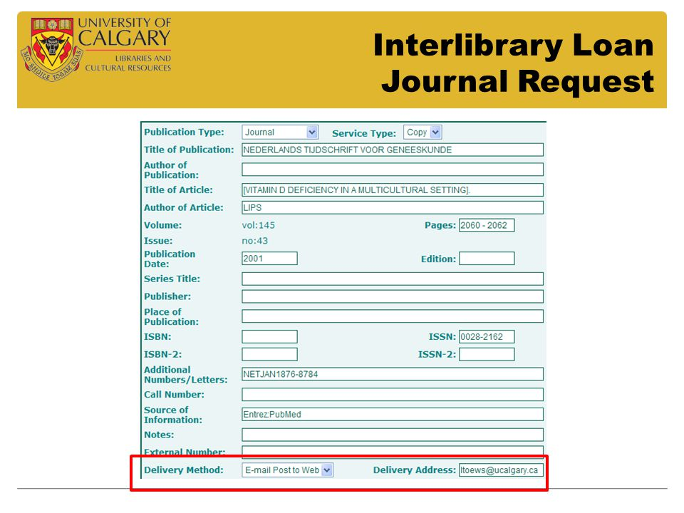 Interlibrary Loan Journal Request