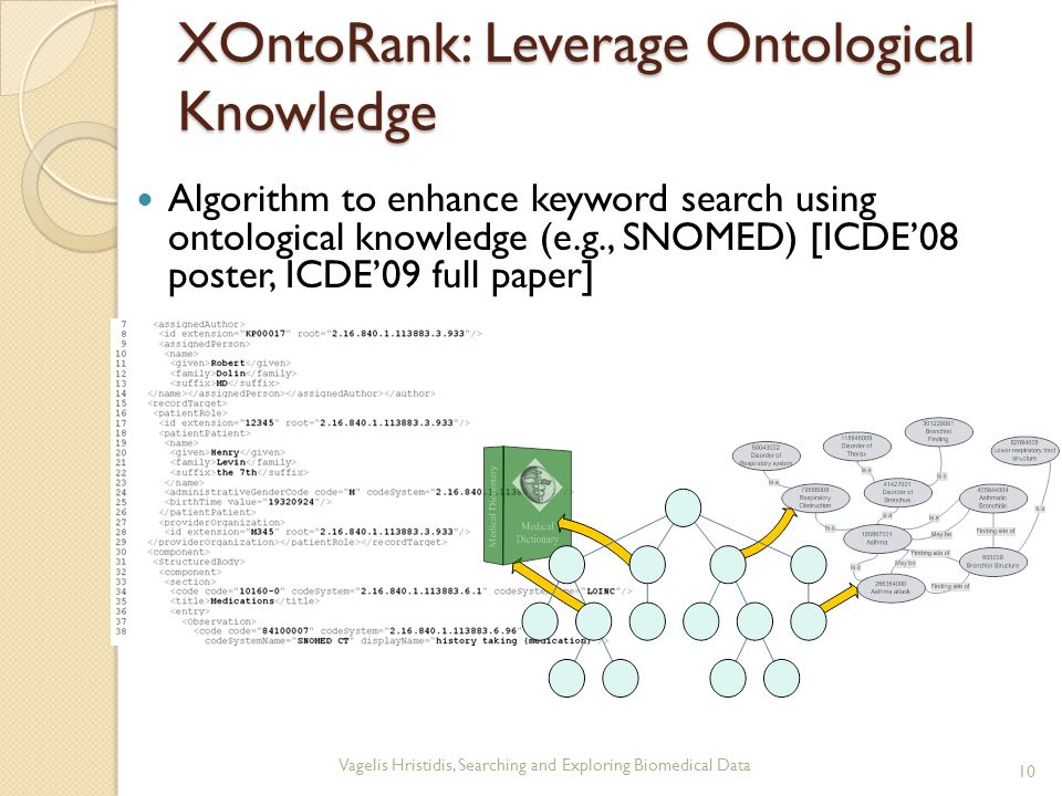 XOntoRank: Leverage Ontological Knowledge Algorithm to enhance keyword search using ontological knowledge (e.g., SNOMED) [ICDE'08 poster, ICDE'09 full paper] 10 Vagelis Hristidis, Searching and Exploring Biomedical Data