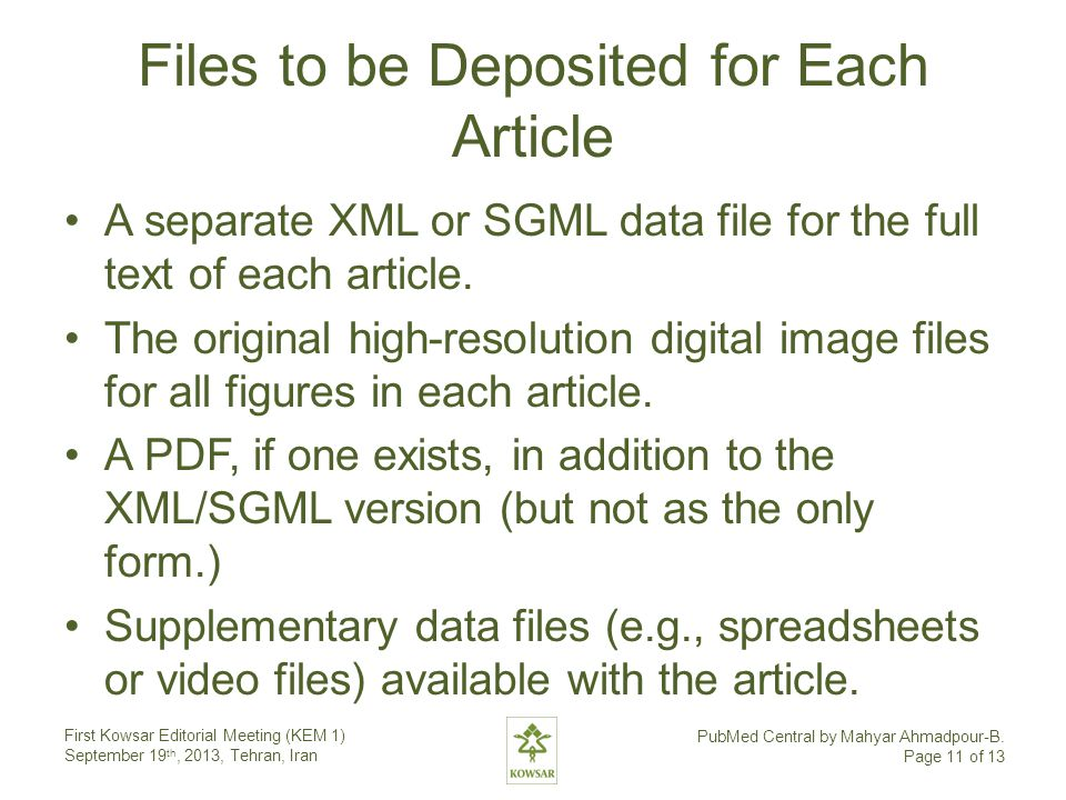 Files to be Deposited for Each Article A separate XML or SGML data file for the full text of each article.