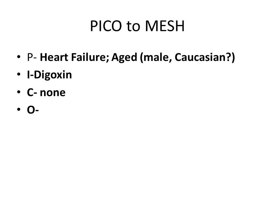 PICO to MESH P- Heart Failure; Aged (male, Caucasian?) I-Digoxin C- none O-