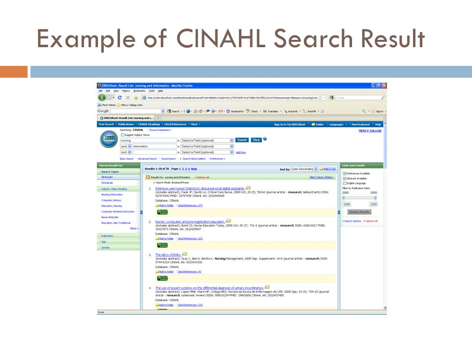 Example of CINAHL Search Result