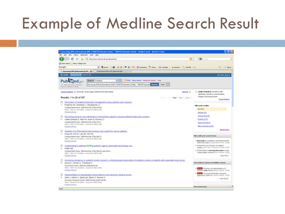 Example of Medline Search Result