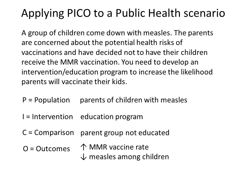 Applying PICO to a Public Health scenario A group of children come down with measles.