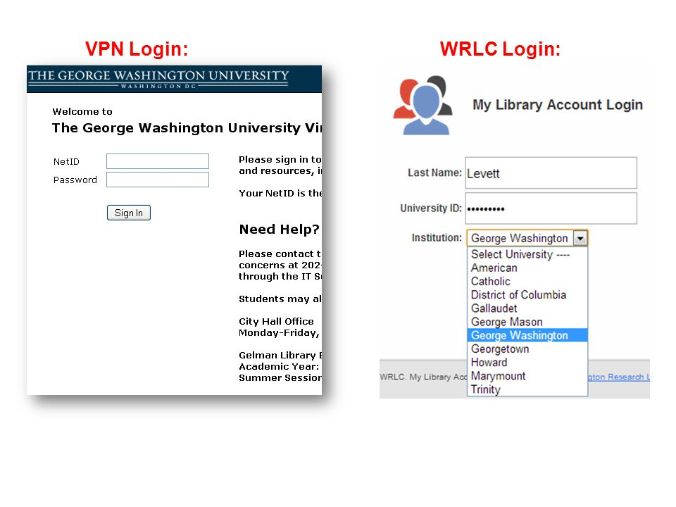 VPN Login:WRLC Login: