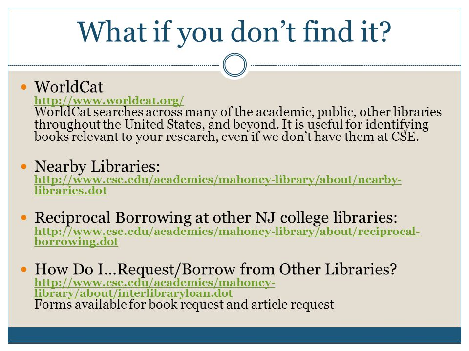 Articles via Library Subscription Databases Online & Print Journals List: http://atoz.ebsco.com/Search/10584 Use this if you have the article citation or know the name of the journal.