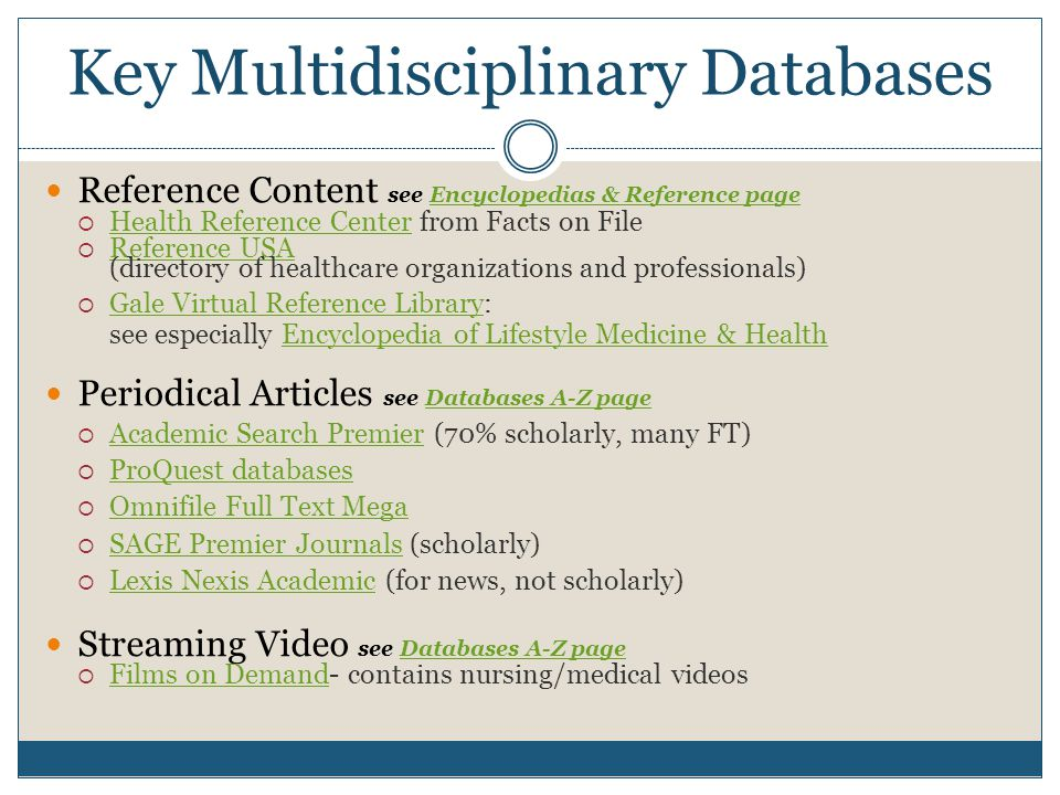 Key Multidisciplinary Databases Reference Content see Encyclopedias & Reference pageEncyclopedias & Reference page  Health Reference Center from Facts on File Health Reference Center  Reference USA (directory of healthcare organizations and professionals) Reference USA  Gale Virtual Reference Library: see especially Encyclopedia of Lifestyle Medicine & Health Gale Virtual Reference LibraryEncyclopedia of Lifestyle Medicine & Health Periodical Articles see Databases A-Z pageDatabases A-Z page  Academic Search Premier (70% scholarly, many FT) Academic Search Premier  ProQuest databases ProQuest databases  Omnifile Full Text Mega Omnifile Full Text Mega  SAGE Premier Journals (scholarly) SAGE Premier Journals  Lexis Nexis Academic (for news, not scholarly) Lexis Nexis Academic Streaming Video see Databases A-Z pageDatabases A-Z page  Films on Demand- contains nursing/medical videos Films on Demand