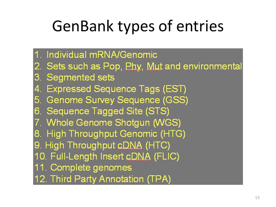 GenBank types of entries 13