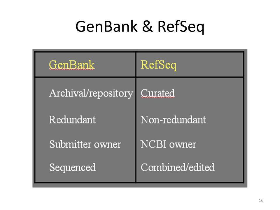 GenBank & RefSeq 16