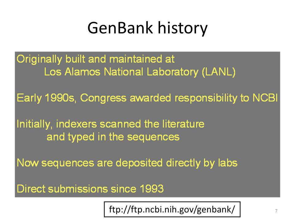 GenBank history 7 ftp://ftp.ncbi.nih.gov/genbank/