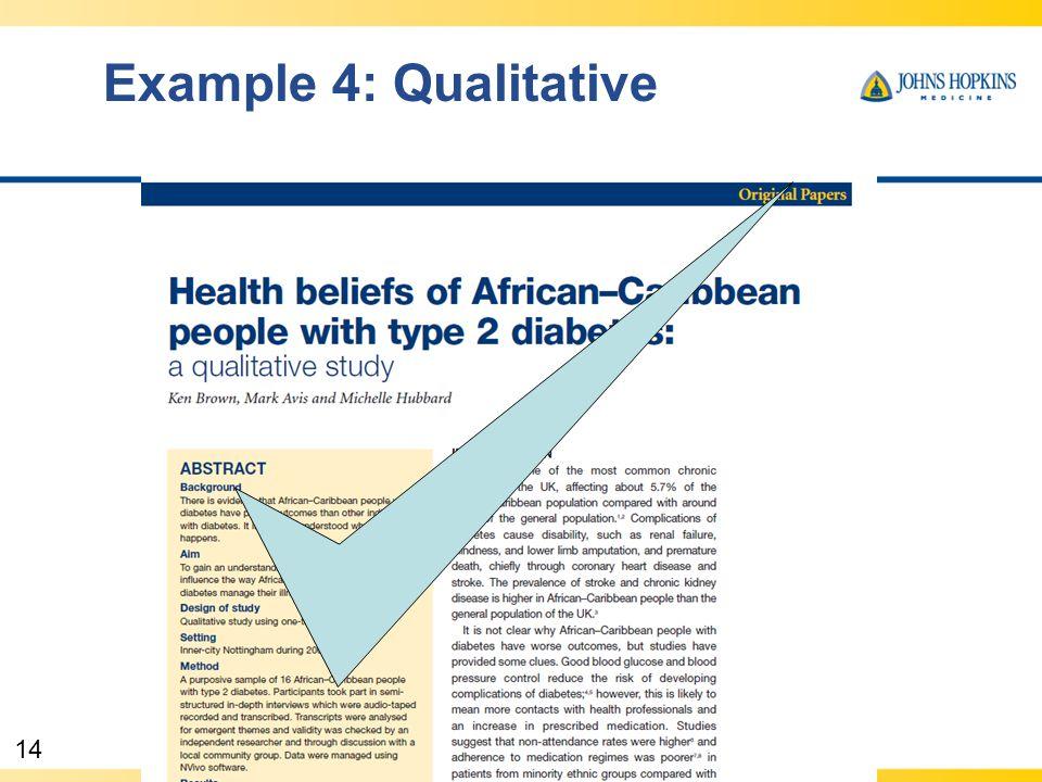 14 Example 4: Qualitative