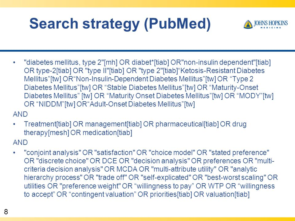 8 Search strategy (PubMed) diabetes mellitus, type 2 [mh] OR diabet*[tiab] OR non-insulin dependent [tiab] OR type-2[tiab] OR type II [tiab] OR type 2 [tiab] Ketosis-Resistant Diabetes Mellitus [tw] OR Non-Insulin-Dependent Diabetes Mellitus [tw] OR Type 2 Diabetes Mellitus [tw] OR Stable Diabetes Mellitus [tw] OR Maturity-Onset Diabetes Mellitus [tw] OR Maturity Onset Diabetes Mellitus [tw] OR MODY [tw] OR NIDDM [tw] OR Adult-Onset Diabetes Mellitus [tw] AND Treatment[tiab] OR management[tiab] OR pharmaceutical[tiab] OR drug therapy[mesh] OR medication[tiab] AND conjoint analysis OR satisfaction OR choice model OR stated preference OR discrete choice OR DCE OR decision analysis OR preferences OR multi- criteria decision analysis OR MCDA OR multi-attribute utility OR analytic hierarchy process OR trade off OR self-explicated OR best-worst scaling OR utilities OR preference weight OR willingness to pay OR WTP OR willingness to accept OR contingent valuation OR priorities[tiab] OR valuation[tiab]