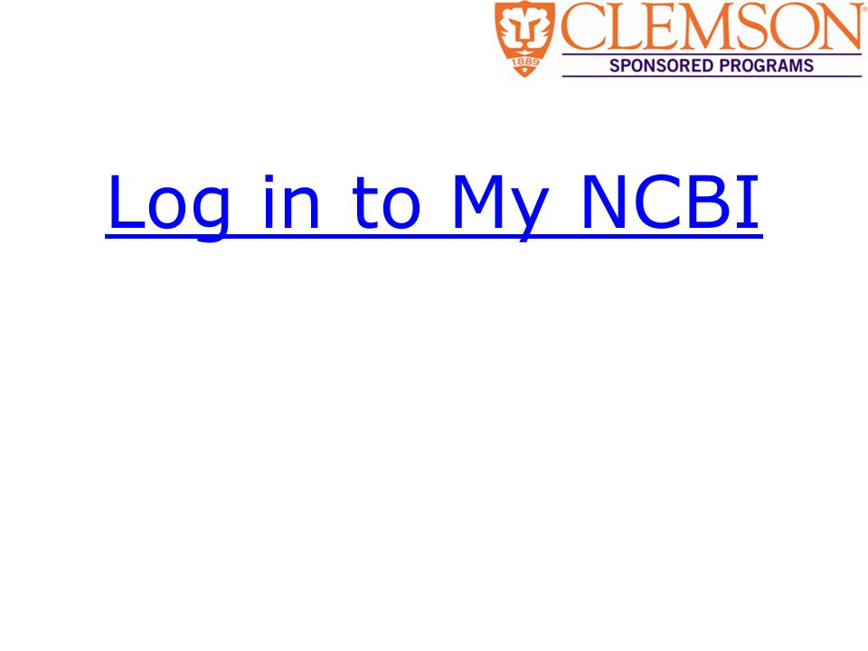 Log in to My NCBI