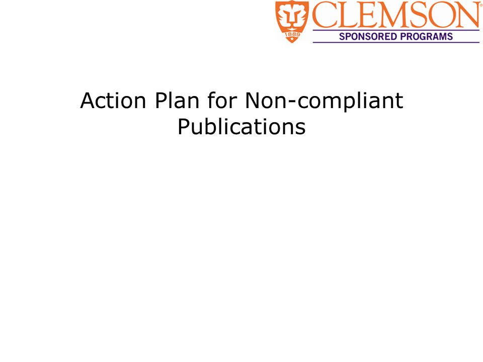 Action Plan for Non-compliant Publications