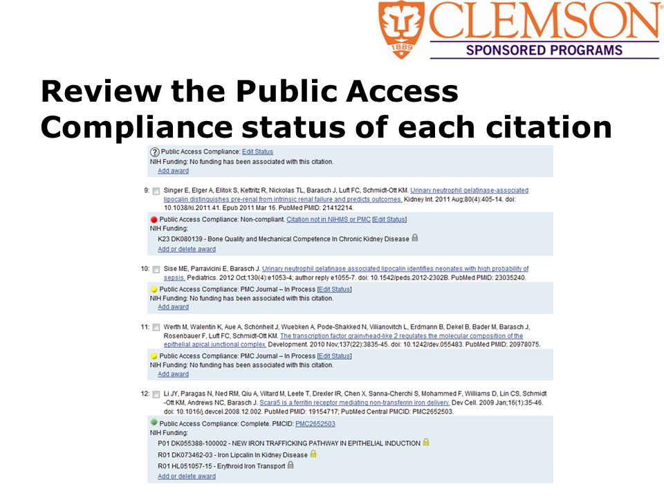 Review the Public Access Compliance status of each citation