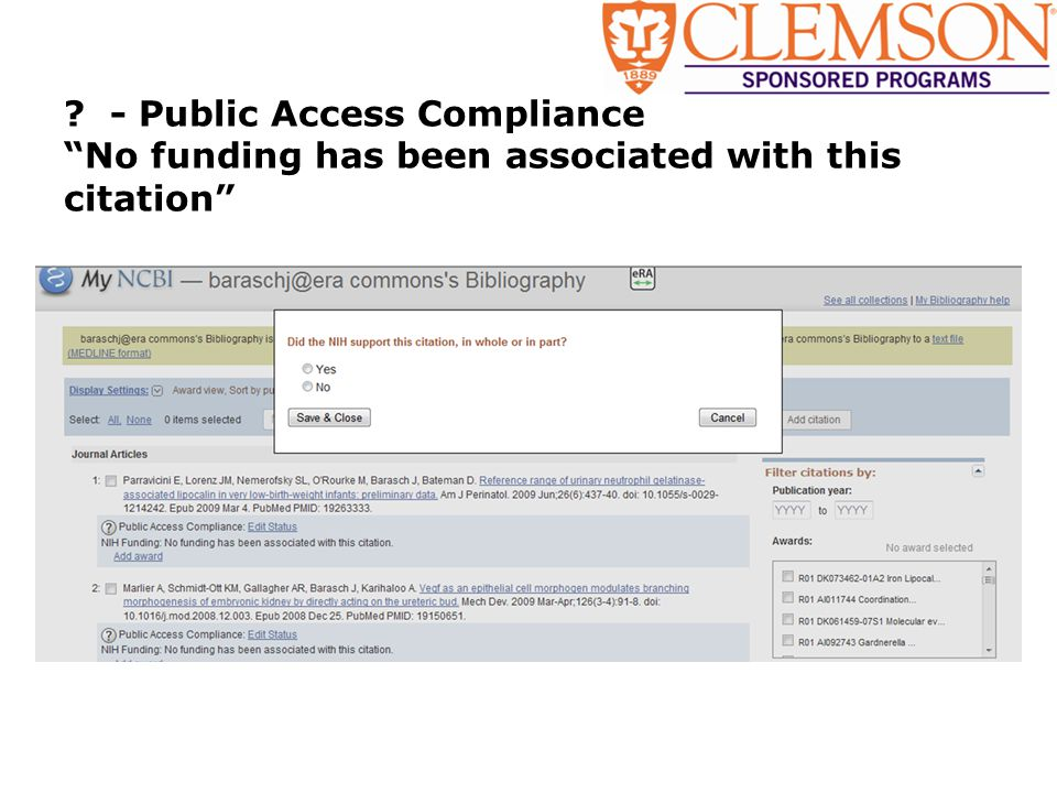 ? - Public Access Compliance No funding has been associated with this citation
