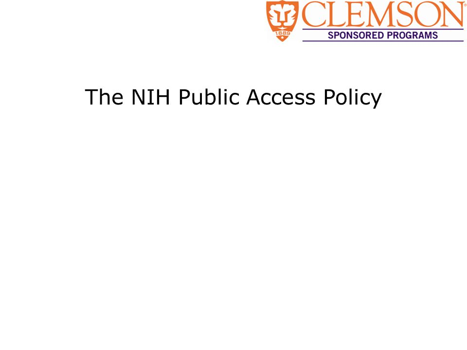 The NIH Public Access Policy