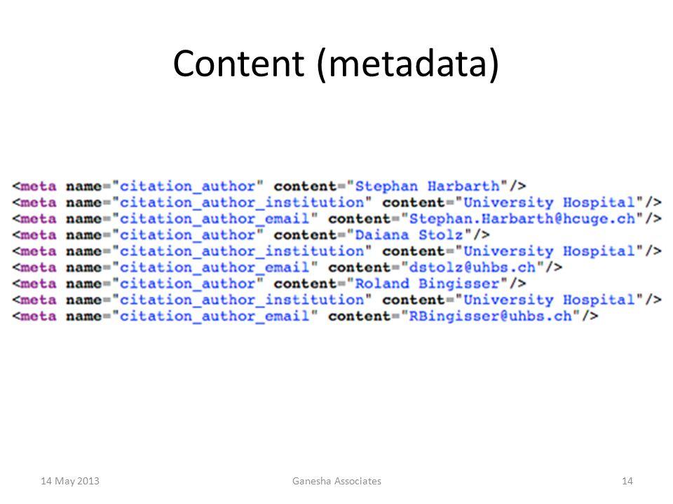 14 May 2013Ganesha Associates14 Content (metadata)