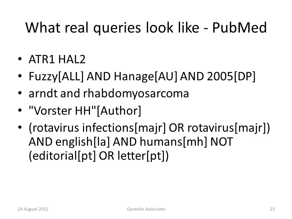 24 August 2012Ganesha Associates23 What real queries look like - PubMed ATR1 HAL2 Fuzzy[ALL] AND Hanage[AU] AND 2005[DP] arndt and rhabdomyosarcoma Vorster HH [Author] (rotavirus infections[majr] OR rotavirus[majr]) AND english[la] AND humans[mh] NOT (editorial[pt] OR letter[pt])