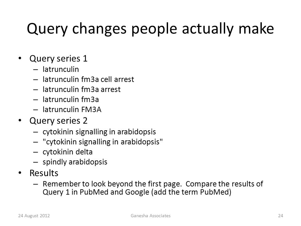 24 August 2012Ganesha Associates24 Query changes people actually make Query series 1 – latrunculin – latrunculin fm3a cell arrest – latrunculin fm3a arrest – latrunculin fm3a – latrunculin FM3A Query series 2 – cytokinin signalling in arabidopsis – cytokinin signalling in arabidopsis – cytokinin delta – spindly arabidopsis Results – Remember to look beyond the first page.