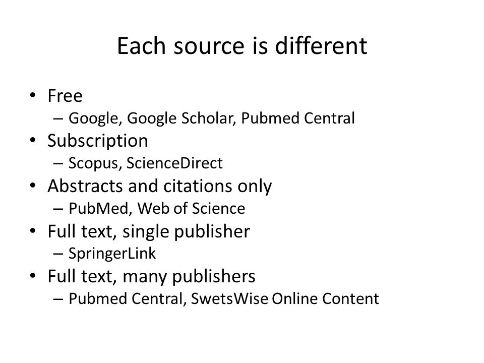 Each source is different Free – Google, Google Scholar, Pubmed Central Subscription – Scopus, ScienceDirect Abstracts and citations only – PubMed, Web of Science Full text, single publisher – SpringerLink Full text, many publishers – Pubmed Central, SwetsWise Online Content