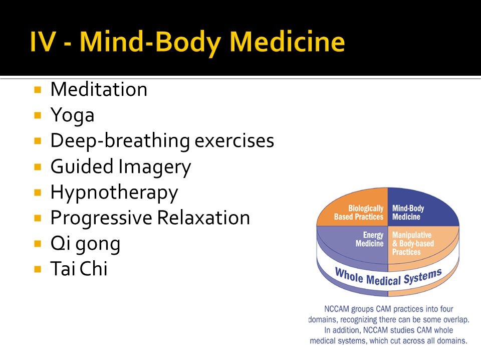  Meditation  Yoga  Deep-breathing exercises  Guided Imagery  Hypnotherapy  Progressive Relaxation  Qi gong  Tai Chi