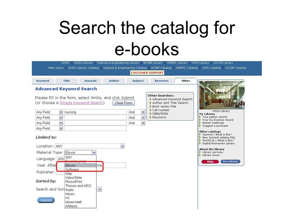Search the catalog for e-books