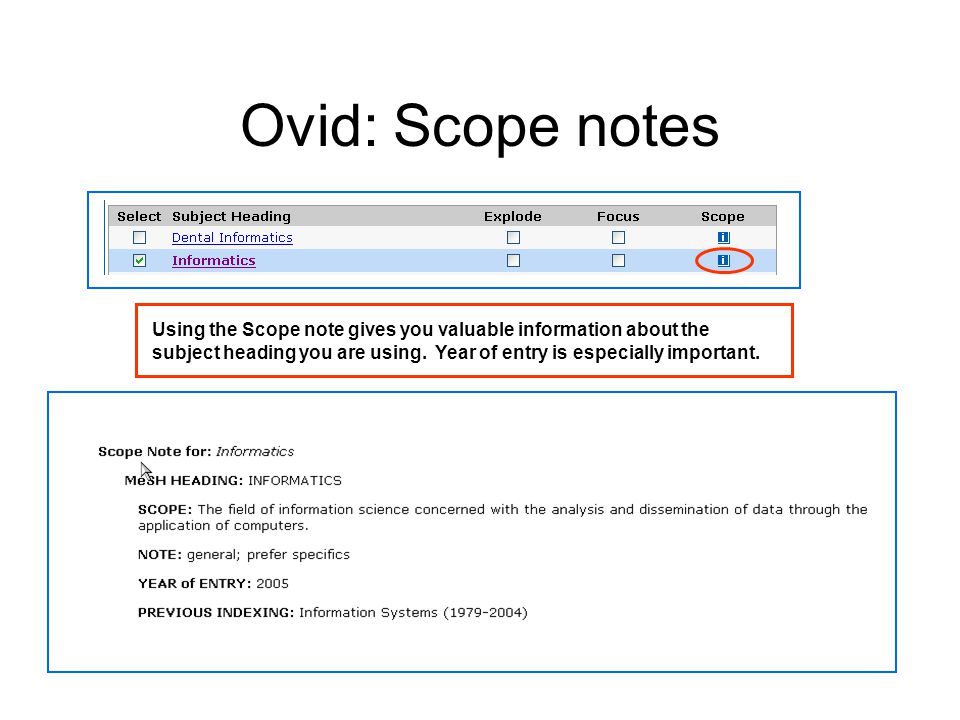 Ovid: Scope notes Using the Scope note gives you valuable information about the subject heading you are using.