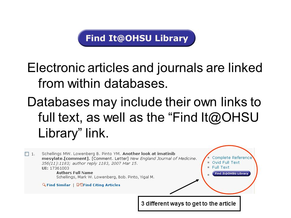 Electronic articles and journals are linked from within databases.