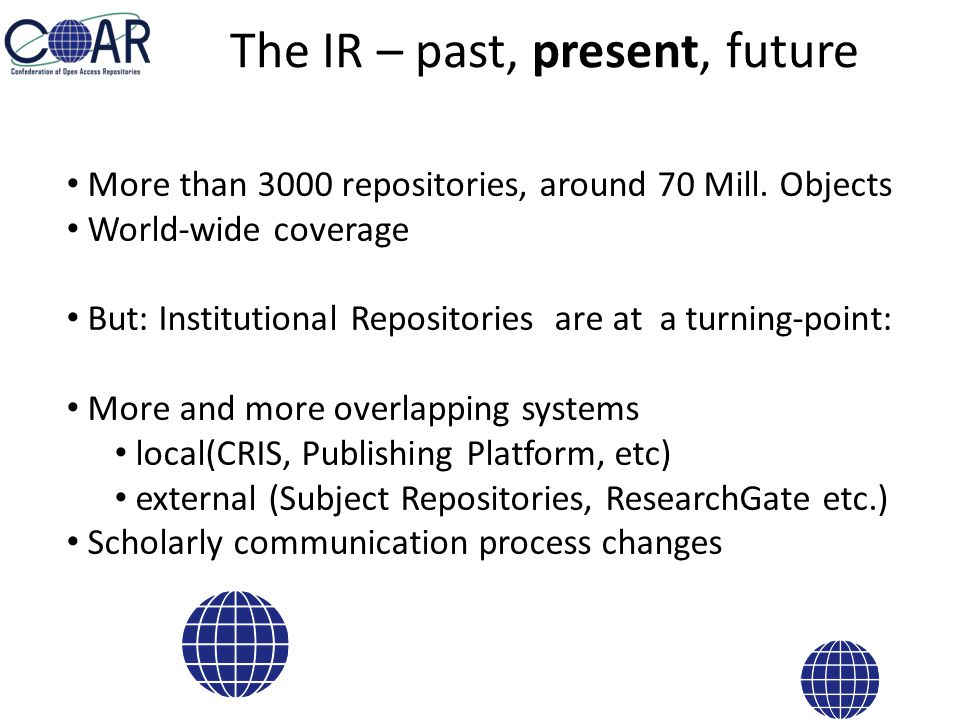 The IR – past, present, future More than 3000 repositories, around 70 Mill.