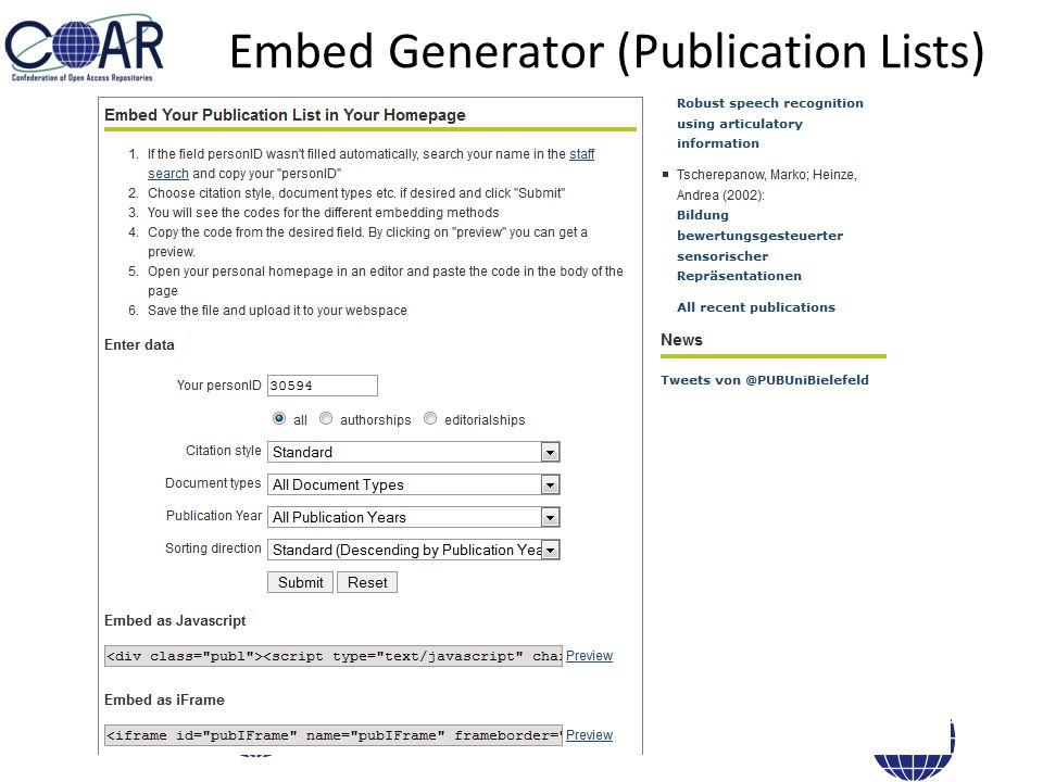 Embed Generator (Publication Lists)