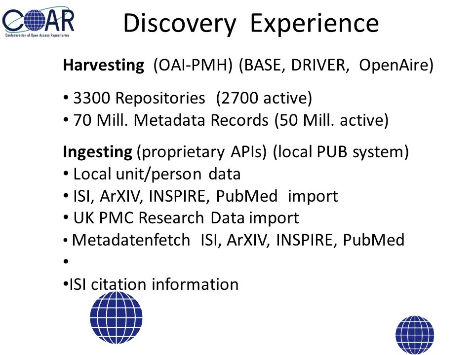 No CRIS system available No repository platform anymore but a publication management system (open source cooperation with UL Lund, UL Gent) Extending this system Research Data Project Information Awards Information Example: our local approach